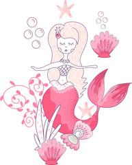Pink mermaid with seashell