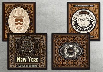 4 Vintage Labels in Black and Gold