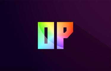 op o p letter combination rainbow colored alphabet logo icon design