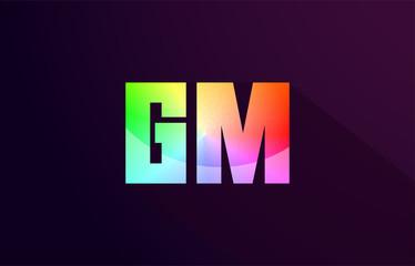 gm g m letter combination rainbow colored alphabet logo icon design