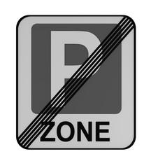 Deutsches Verkehrszeichen: Ende Parkraumbewirtschaftungszone, auf weiß isoliert.