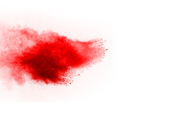 abstract powder splatted background,Freeze motion of red powder exploding/throwing red powder.