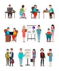 People Lern New Information Illustrations Set