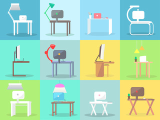 Workplace with Modern Furniture and PC Vector Set