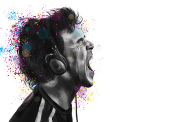 Conceptual painting of a man in profile, listen to music on headphones and shout