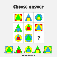 Choose correct answer, IQ test with colorful geometric shapes for children, fun education game for kids, preschool worksheet activity, task for the development of logical thinking, vector illustration