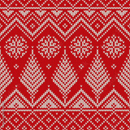 Christmas Seamless Knit Pattern With Snowflakes And Christmas Trees
