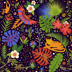 Vector bright seamless pattern with tropical plants, flowers and animals. Colorful wallpaper for textile, cover, wrapping paper, web