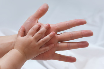 mom holds the hand of a young child
