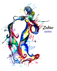 Zodiac illustration of the astrological sign of Aquarius as a beautiful girls