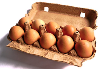 Closeup of chicken eggs in a carton