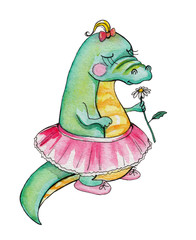 Funny cartoon alligator with flower. Watercolor hand painted illustration