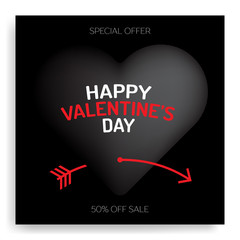 Happy valentine's day luxury greeting card black heart pierced by red cupid's arrow in valentine