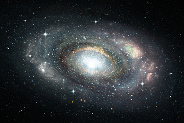 Space background with spiral galaxy and stars