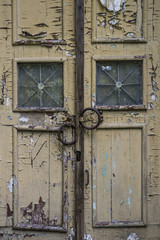 texture of old paint on the doors