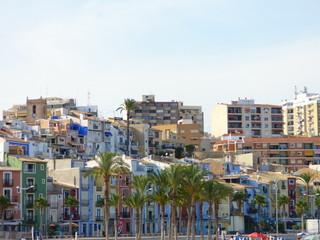 Playa de Villajoyosa (Alicante) Pueblo de la Comunidad Valenciana, España situado en la Costa Blanca