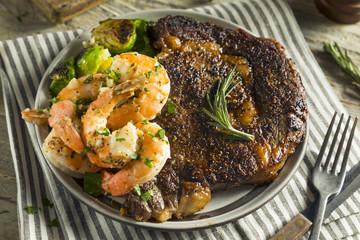 Wall Mural - Gourmet Homemade Steak and Shrimp