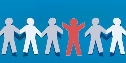chaine - papier - concept - ensemble - groupe - couper - union - autonomie - cassé - travail d'équipe - libre