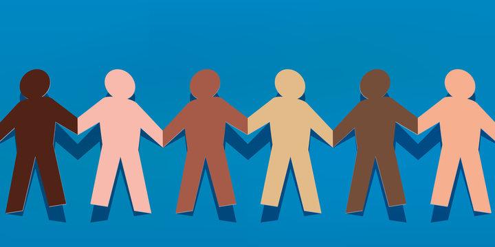 chaine - papier - concept - différent - diversité - entente - solidarité - couleur de peau - racisme
