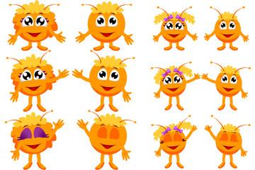 Семья оранжевых добрых монстров рисованные персонажи