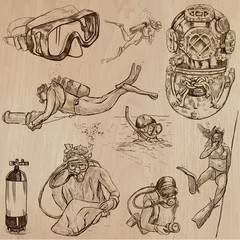 DIVING - An hand drawn vector collection, Divers. Freehand drawing. Line art sketching.