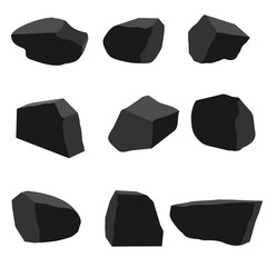 A set of pieces of hard coal from nine pieces
