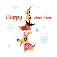 Cheerful New Years card with dogs