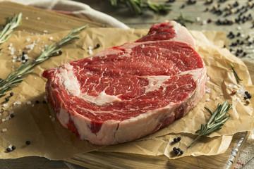 Wall Mural - Raw Grass Fed Boneless Ribeye Steak