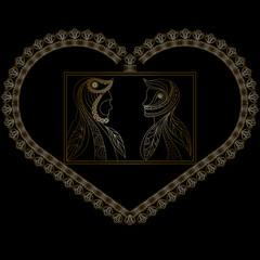 Decorative heart with a romantic couple 4
