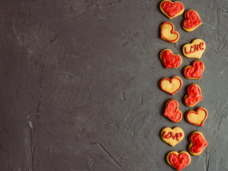 Fresh and fragrant biscuits with glaze for those who love. A place to write on Valentine's Day ...