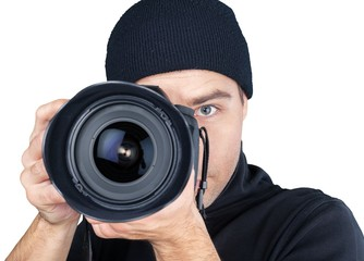 Closeup of a Thief Taking Photos