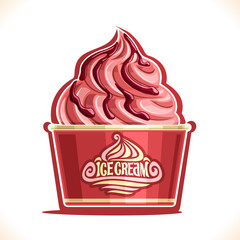 Vector illustration of Strawberry Ice Cream in paper cup, pink soft served sundae in cardboard tub box for cafe takeaway, on label original text ice cream, vegan yogurt twisted dessert in packaging.