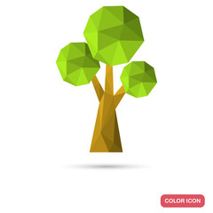 Tree in polygon style color icon