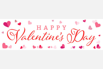Happy Valentines Day Wide Banner Vector Illustration 1