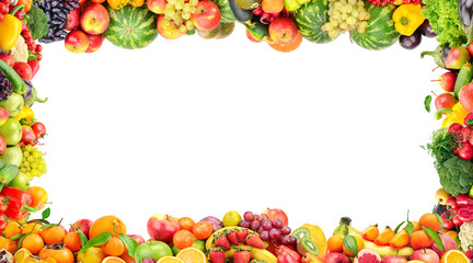 Wall Mural - Frame of vegetables and fruits isolated on white background.