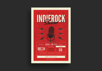Indie Rock Show Flyer with Microphone Illustration