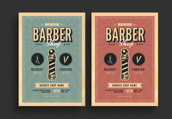 Retro Barbershop Flyer with Sunburst Background