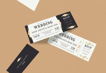 Wedding invitation Ticket with Floral Illustrations