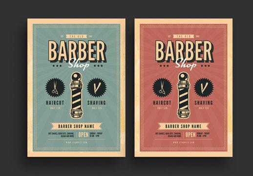 Retro Barbershop Flyer with Sunburst Background