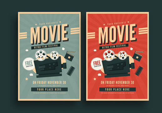 Retro Film Festival Flyer with Projector Illustration