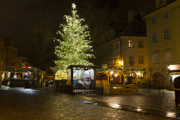 Christmas Mood on the snowy night historical Island Kampa, Prague, Czech Republic