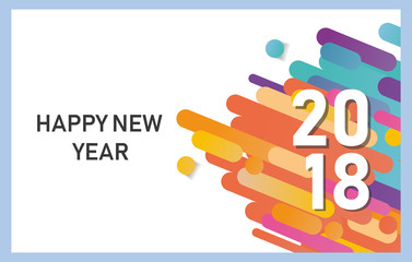 Happy new year 2018 vector background. Vector brochure design template. Cover of business diary for 2018 with wishes.