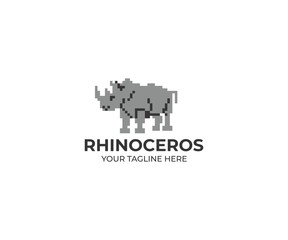 Rhinoceros Logo Template. Rhino Vector Design. Animal Illustration