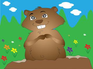 Groundhog Day Spring prediction illustration