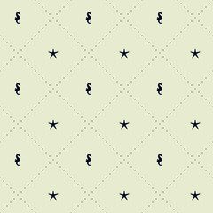 Seamless vector pattern with seahorse, starfish and dotted lines. Marine motif.