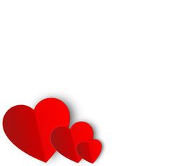 Red paper Valentine hearts