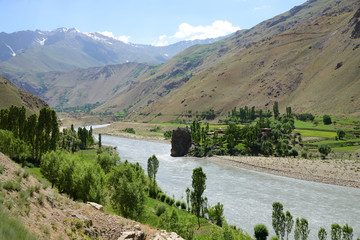 Afghan Wakhan valley as seen from the Tajik border, Pamir Mountain Range, Tajikistan