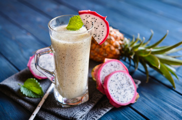 Fresh Dragon fruit and pineapple smoothie