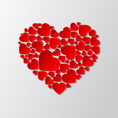 Beautiful paper cut out heart with many small red hearts. Vector illustration