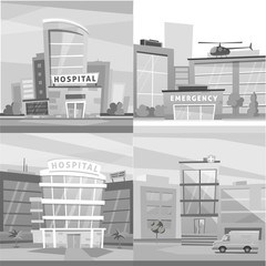 Hospital building cartoon modern vector illustration. Medical Clinic and city background. Emergency room exterior